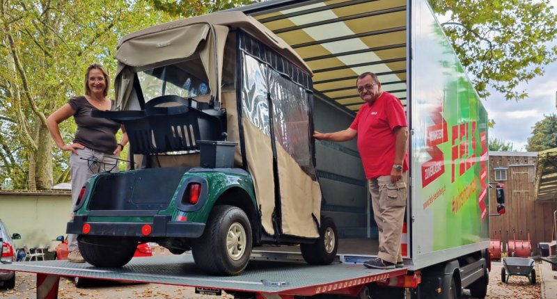 Transport eines Golfcart für den Zoo Heidelberg
