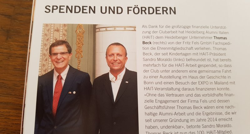 FELS unterstützt Heidelberg Alumni Italien